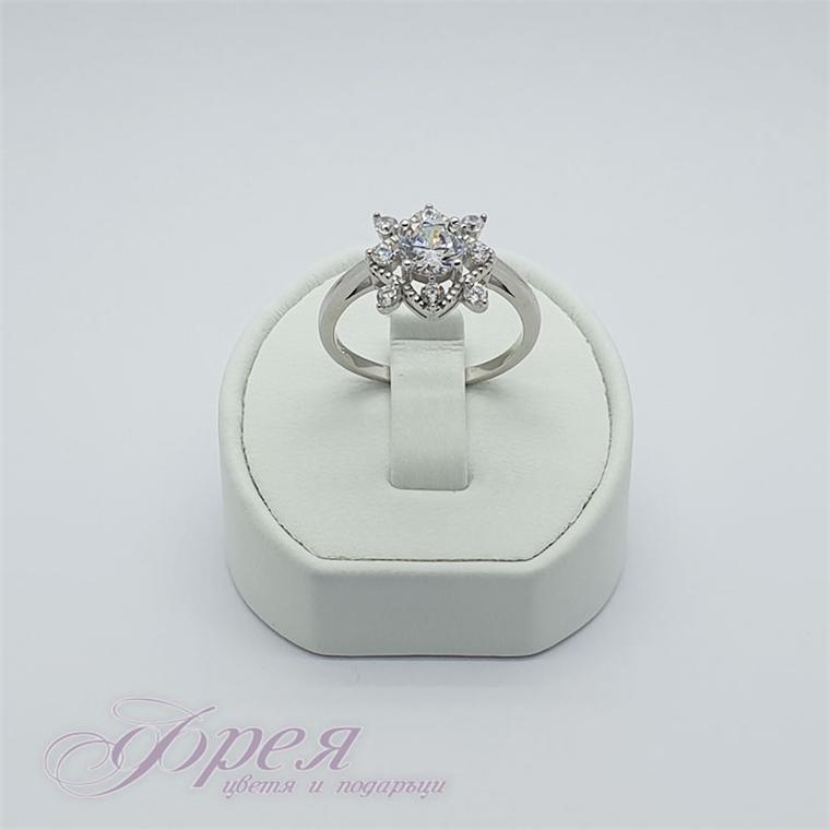 Сребърен пръстен с циркони - квадрат 1.2х1.2см