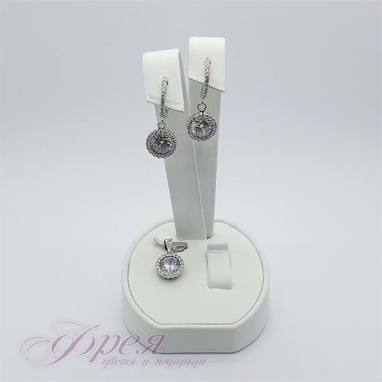 Сребърен комплект висулка и обеци с циркони - кръг Ø1.0смм