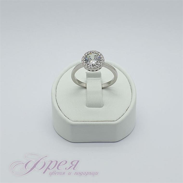 Сребърен пръстен с циркони - кръг Ø1.0смм