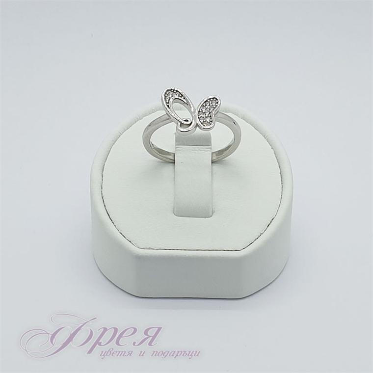 Сребърен пръстен с циркони - пеперуда 1.2х1.2см