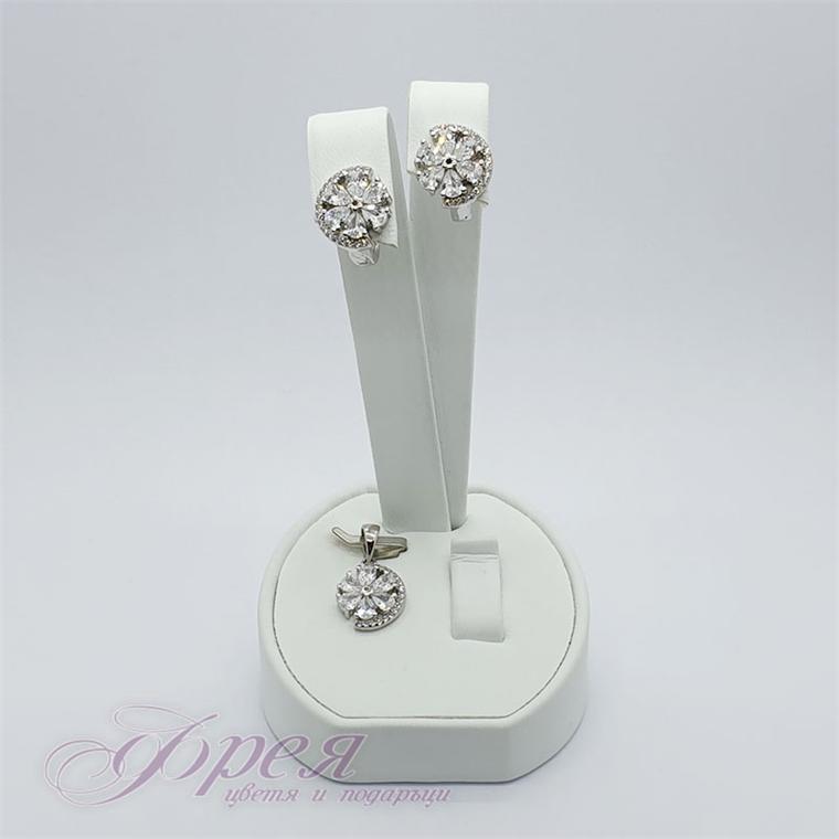 Сребърен комплект висулка и обеци с циркони - цвете Ø1.0см
