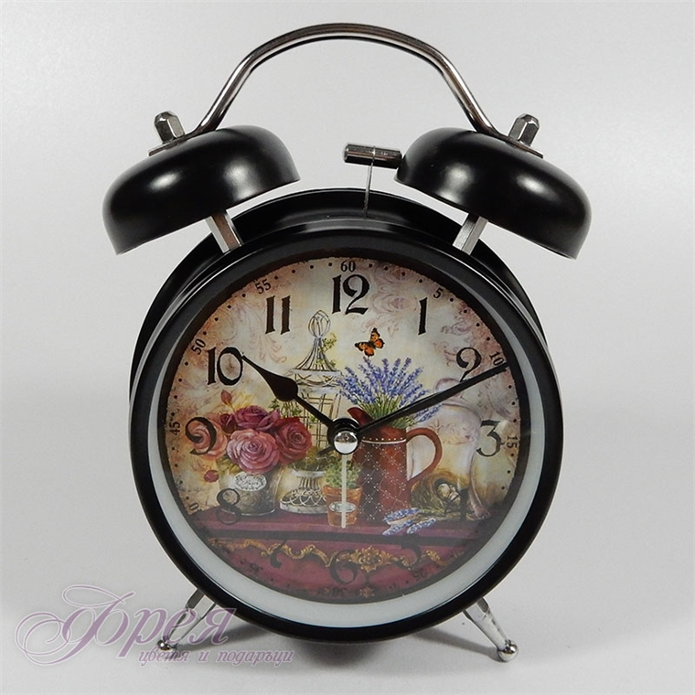Настолен часовник с будилник и лампичка, модел 'Лавандула и рози'