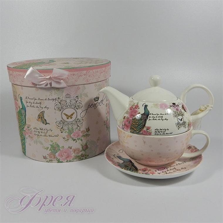 Комплект порцеланова чаша с чинийка и чайник в луксозна кутия