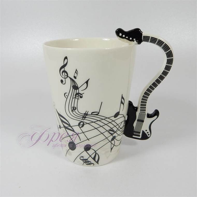 Порцеланова чаша с дръжка китара - черна