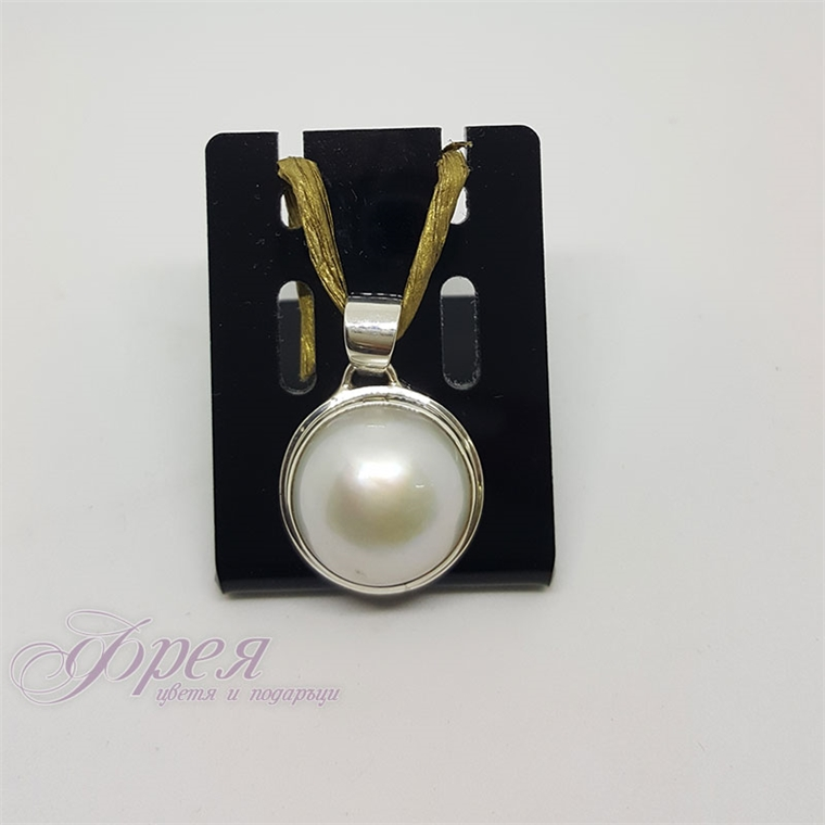 Сребърна висулка с речна перла - полусфера Ø20мм