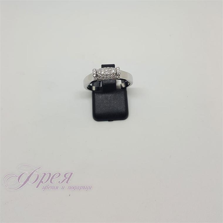 Сребърен пръстен с циркони - въртящ цилиндър