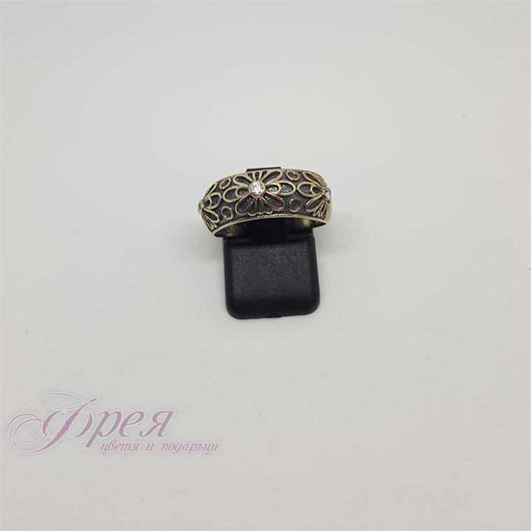 Сребърен пръстен оксидиран с циркони - цветя