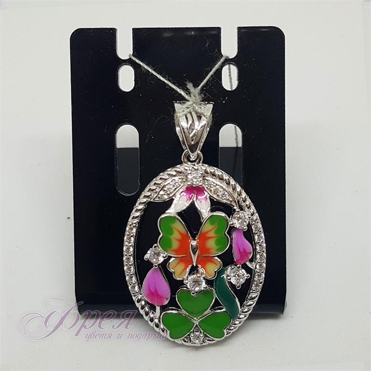 Сребърна висулка с емайл - пеперуда, детелинка и цвете