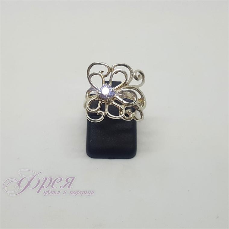 Сребърен пръстен с циркон - цвете от метално телче