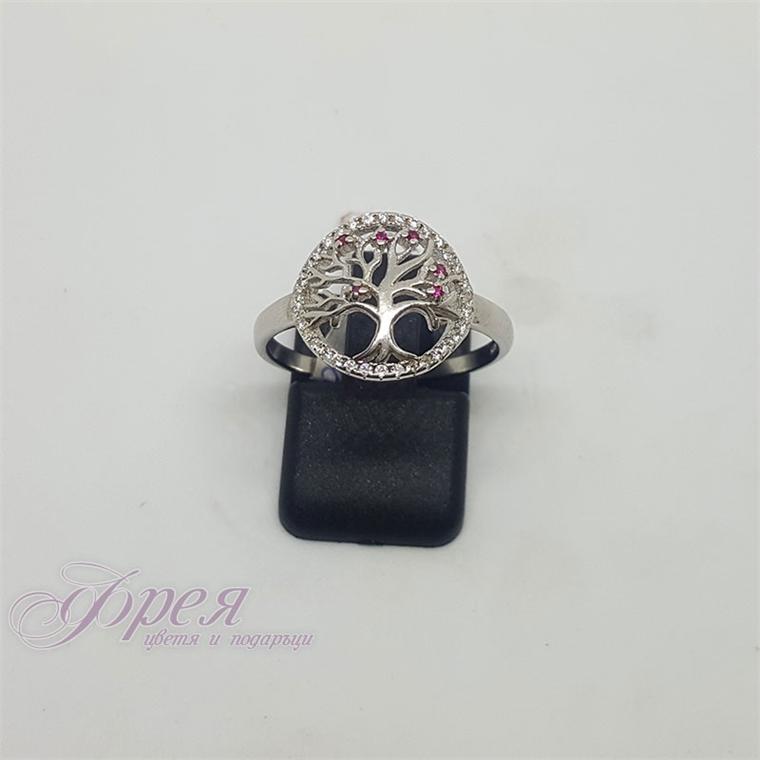 Сребърен пръстен с циркони - кръг с дървото на живота