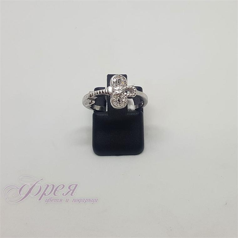 Сребърен пръстен с циркони - пчеличка
