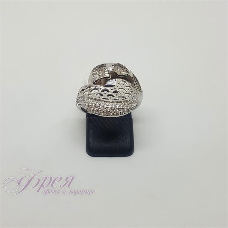 Сребърен пръстен с циркони - орнаменти и цветчета