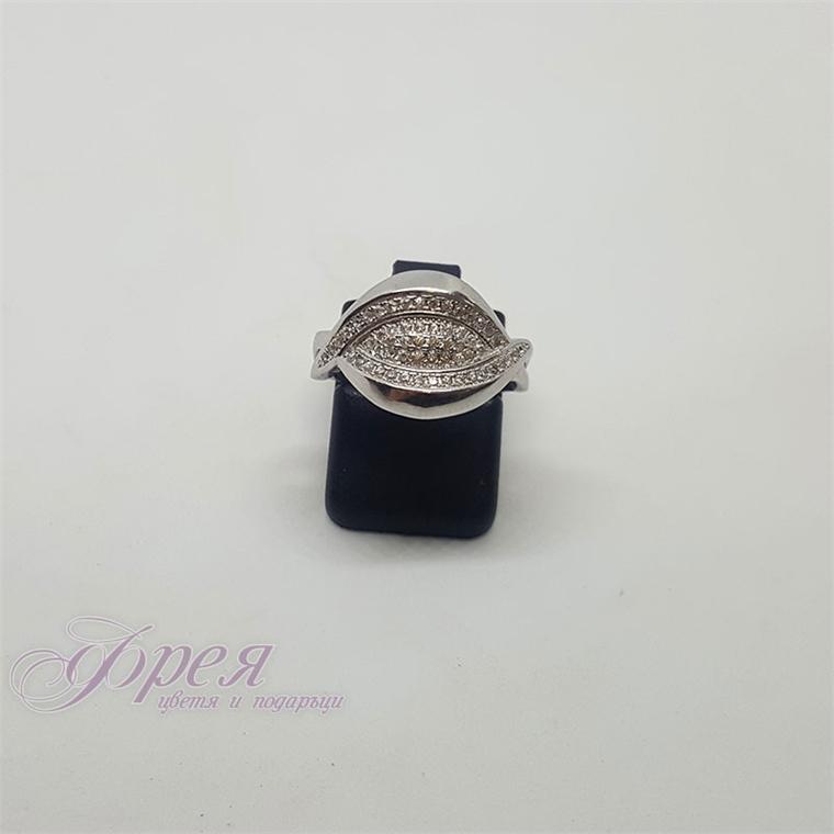 Сребърен пръстен с циркони - две преплитащи се линии