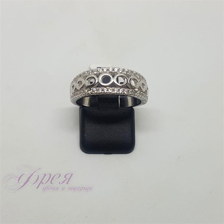 Сребърен пръстен с циркони - халка с елипси