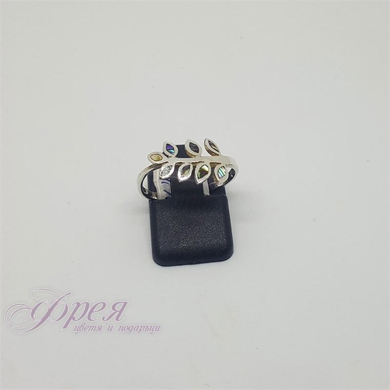 Сребърен пръстен с кралски седеф - клонка