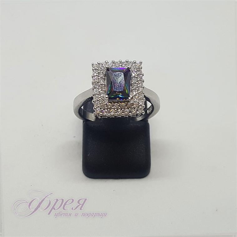 Сребърен пръстен с циркони и мистик топаз - правоъгълник