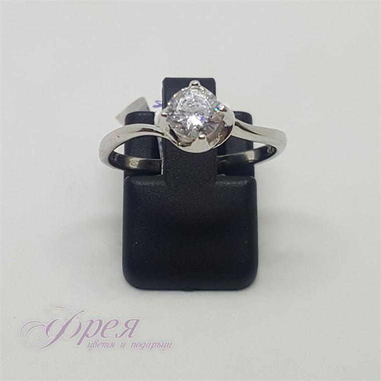 Сребърен пръстен - тип годежен с циркон II