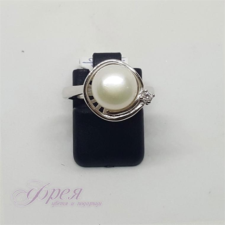 Сребърен пръстен с речна перла - спирала