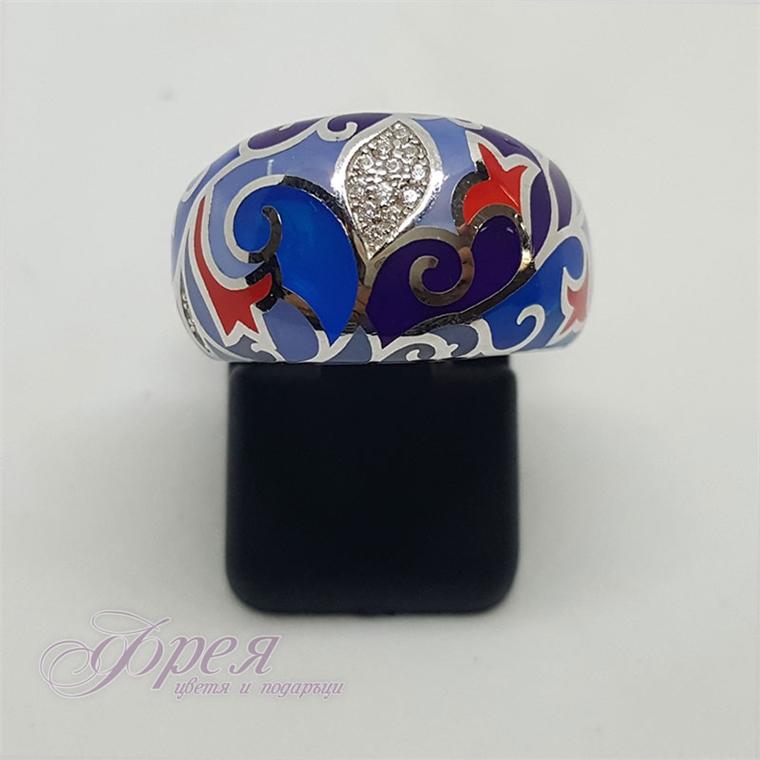 Сребърен пръстен с циркони и емайл - различни форми и преобладабащо синьо