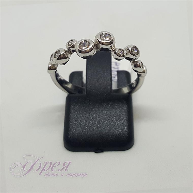Сребърен пръстен с циркони - цилиндърчета