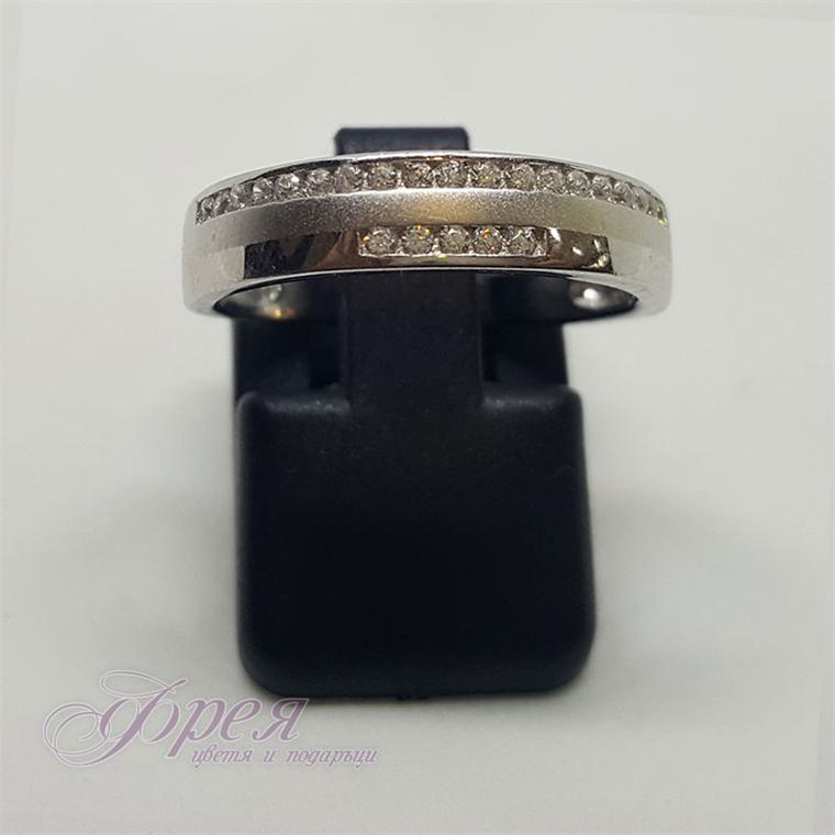 Сребърен пръстен - халка с две линии циркони