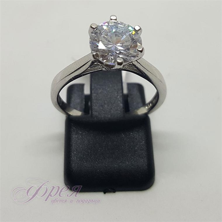 Сребърен пръстен - тип годежен с голям циркон