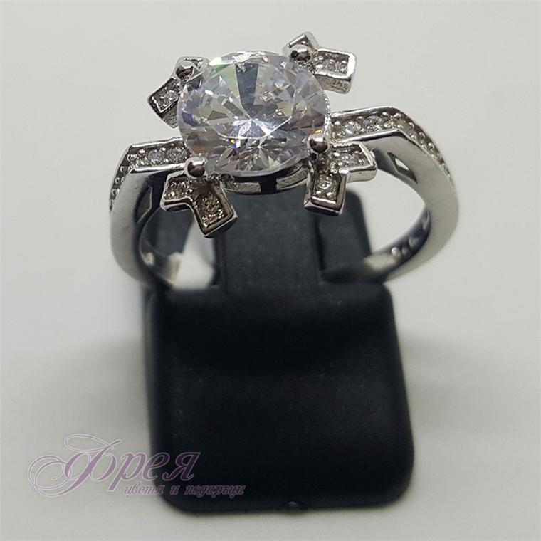 Сребърен пръстен с циркони - снежинка 1.2х1.2см