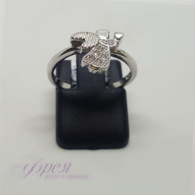 Сребърен пръстен с циркони - Ангелче