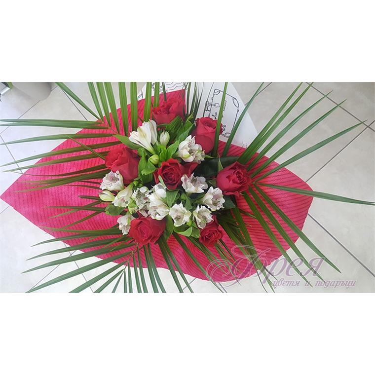 Букет - Червени рози и бяла аустромерия