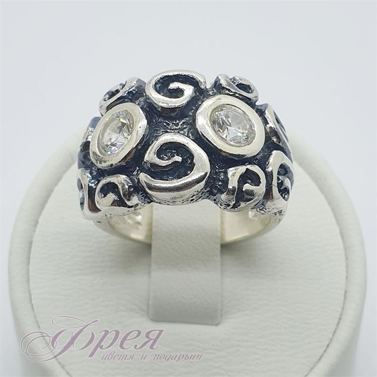Сребърен пръстен с циркони - черен със спирали