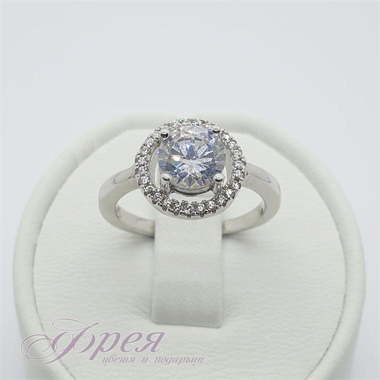 Сребърен пръстен с кръгъл циркон Ø10мм