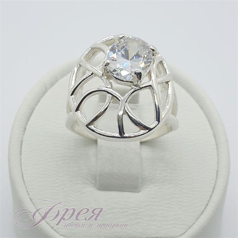 Сребърен пръстен - кръг с линии и овален циркон