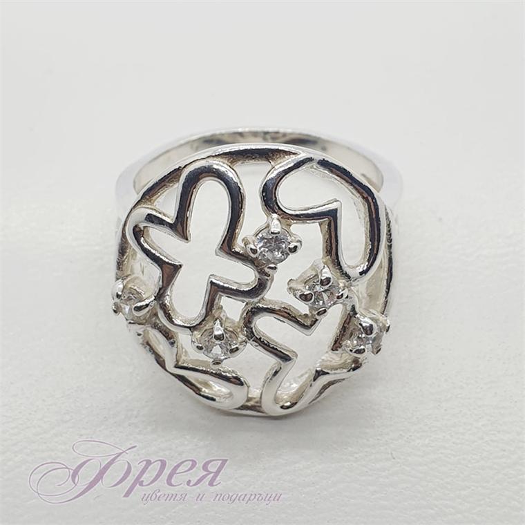Сребърен пръстен с кръгла форма, цветя и циркони