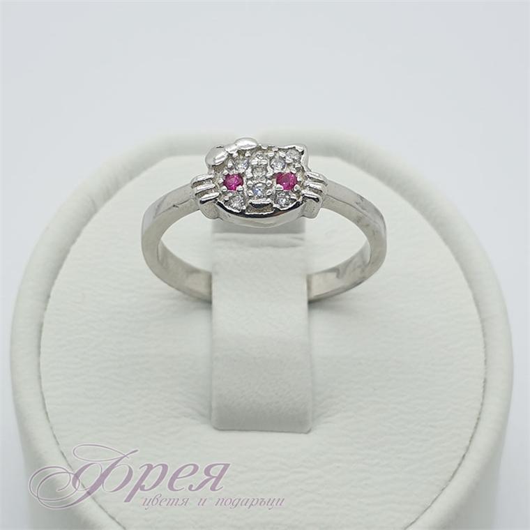 Сребърен пръстен с циркони - коте с черрвени очи