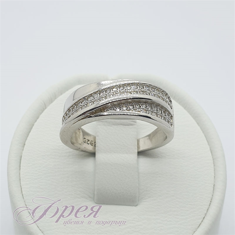 Сребърен пръстен с циркони - две сливащи се ивици