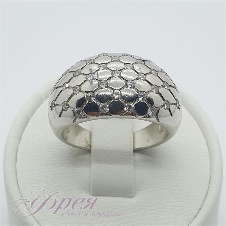 Сребърен пръстен с циркони - мрежа от успоредници