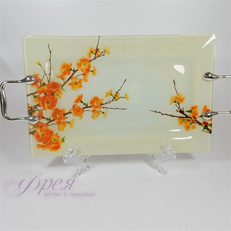 Стъклен поднос - жълти цветя