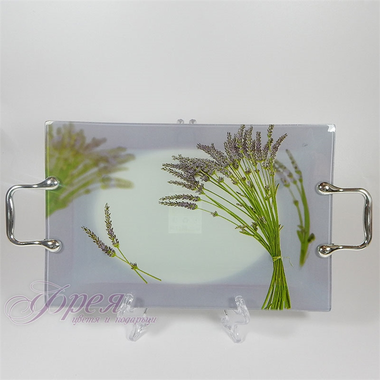Стъклен поднос - лавандула