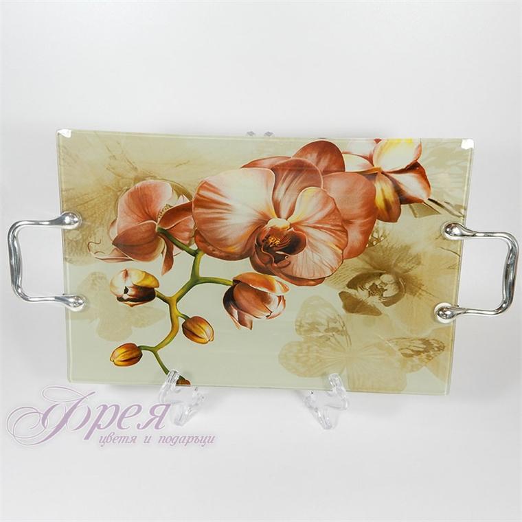 Стъклен поднос - орхидеи