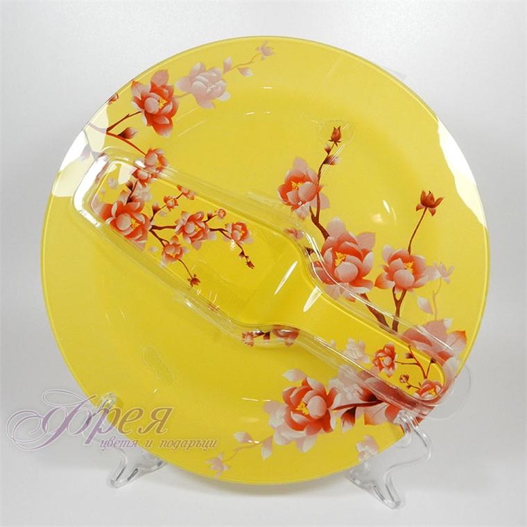 Стъклен сервиз за торта - жълта с червени цветя