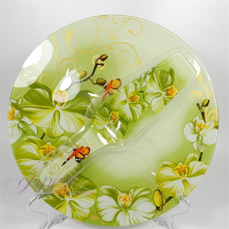 Стъклен сервиз за торта 2 части - зелена орхидея