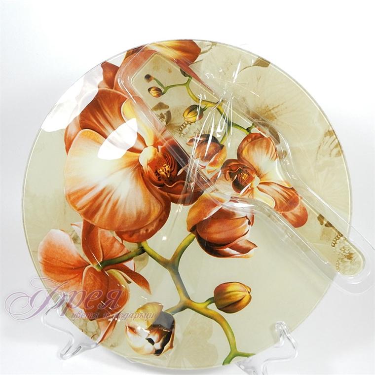 Стъклен сервиз за торта  ''Кафява Орхидея''