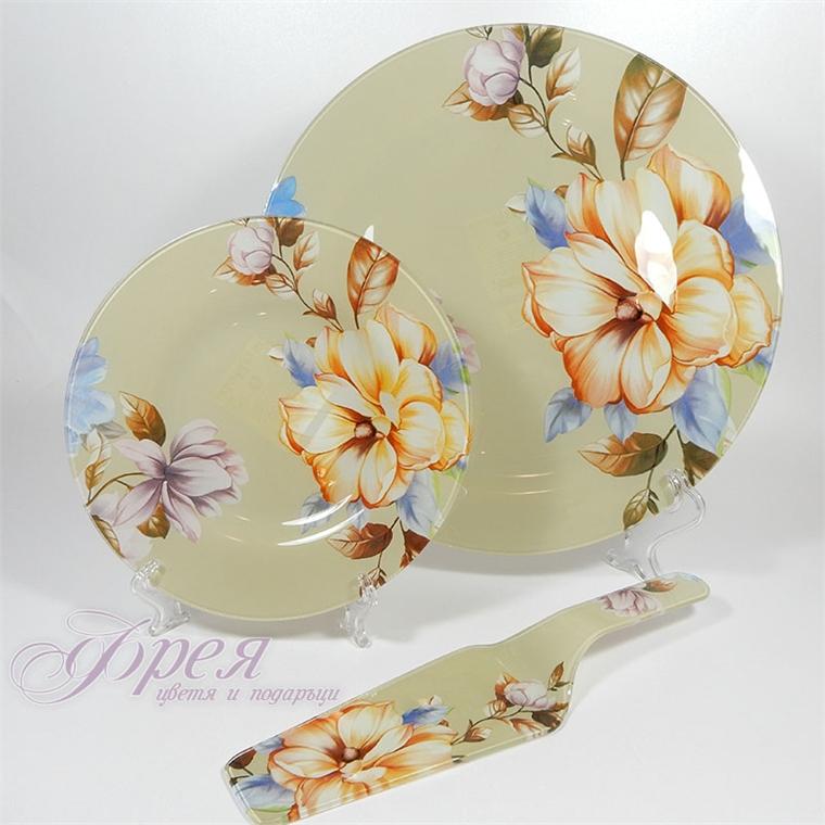 Стъклен сервиз за торта - цветя от 8 части