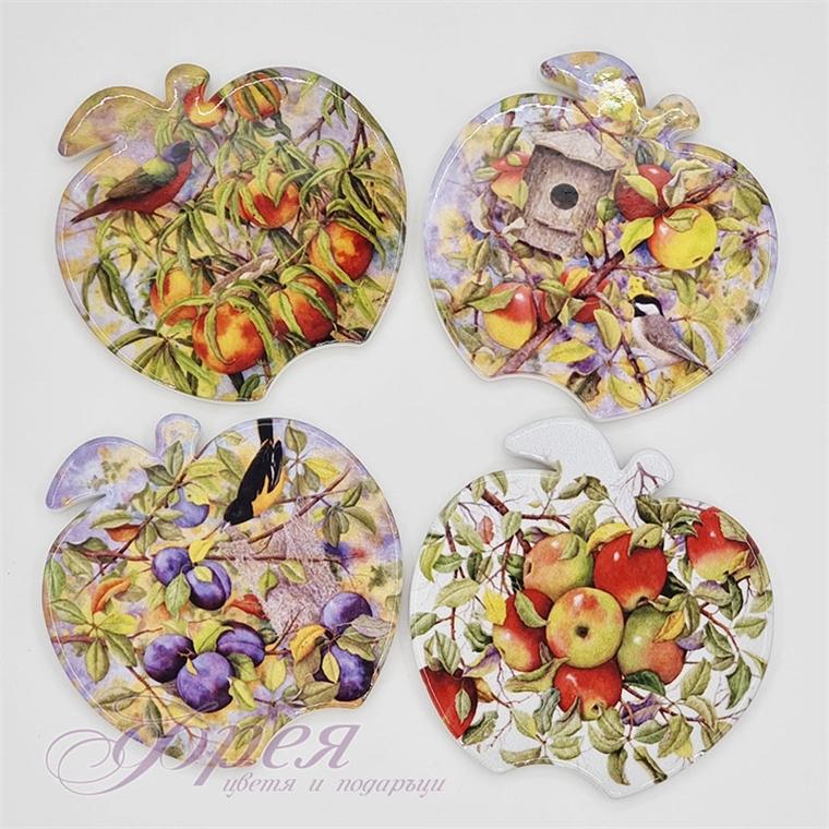 Порцеланови подложки за чаши - Плодова градина