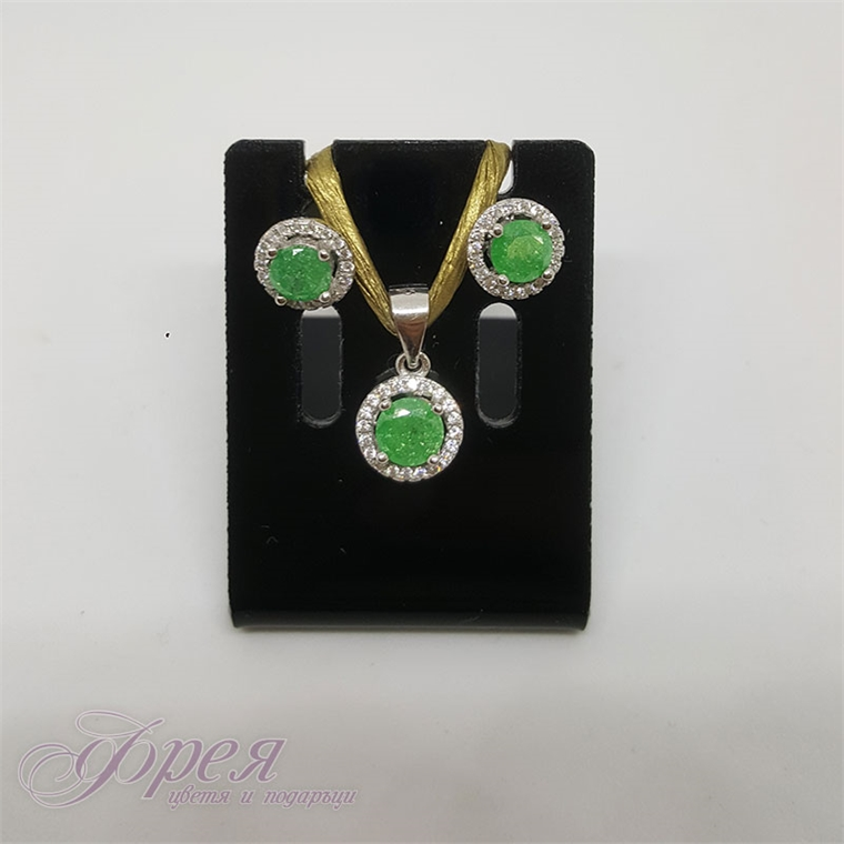 Сребърен комплект обеци и висулка с циркони - зелен кръг
