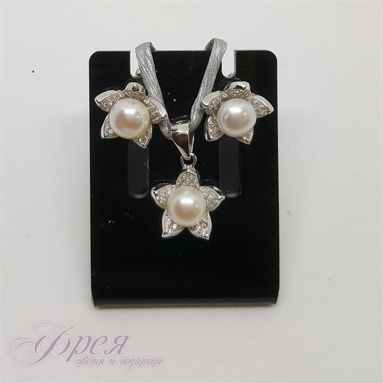 Сребърен комплект обеци с висулка - цвете с перла и циркони