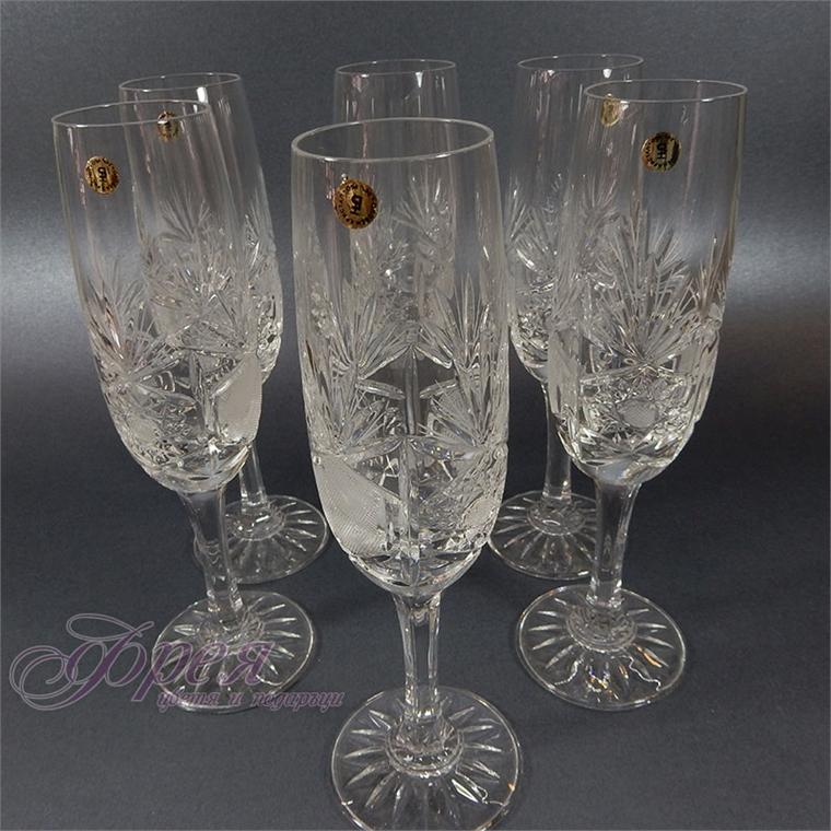 Кристални чаши за шампанско серия ''Поморие''