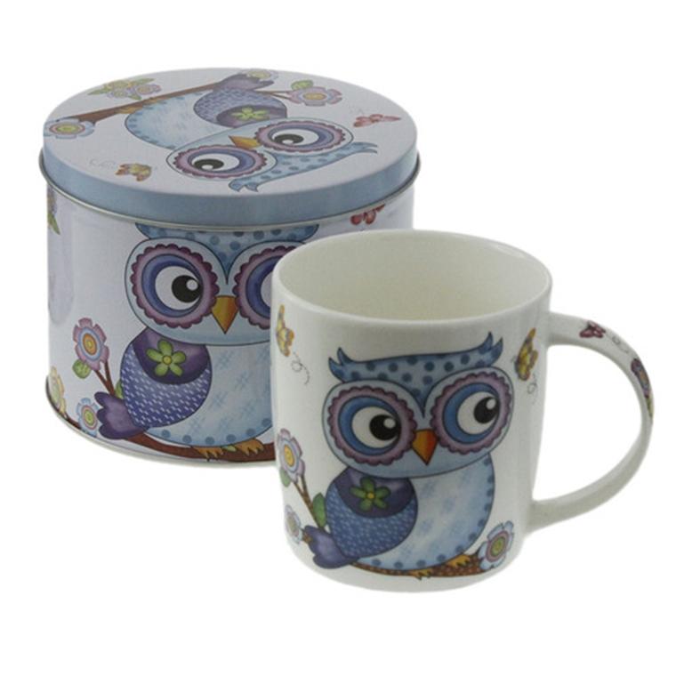 Порцеланова чаша в метална кутия - Шарената сова