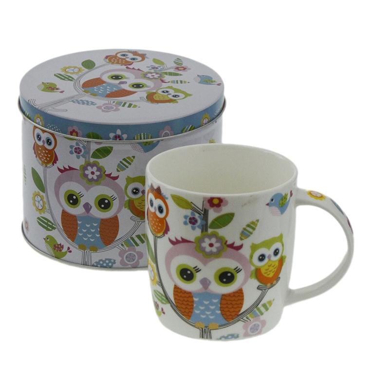 Порцеланова чаша в метална кутия - Шарените сови