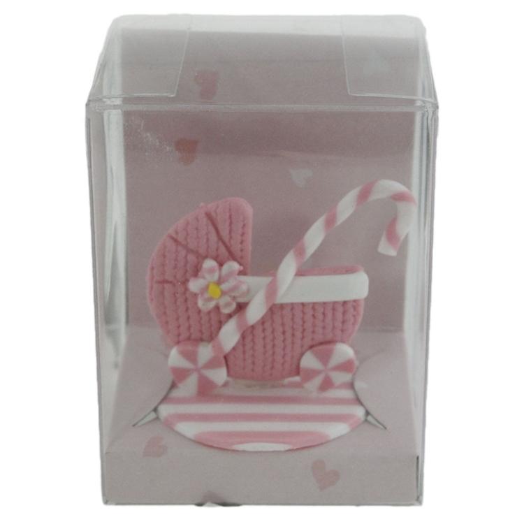 Декорация - Малка бебешка количка, розова